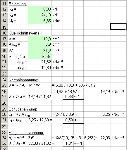 Xlstatik for Statik auflager berechnen